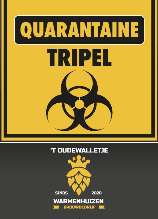 Dit is het etiket van Quarantaine Tripel 33cl, er is gebruik gemaakt van het bio hazard symbool