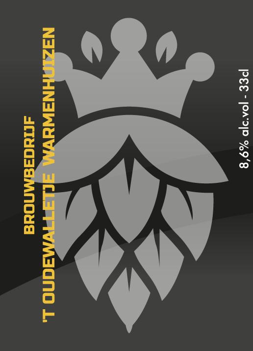 Het wapen van Brouwbedrijf Oudewalletje op etiket van Quarantaine Tripel 33cl